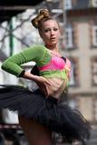 Beautiful young dancer wearing a black tutu Royalty Free Stock Photos