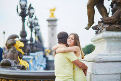 Beautiful young dating couple in Paris Stock Photos
