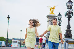 Beautiful young dating couple in Paris Stock Images