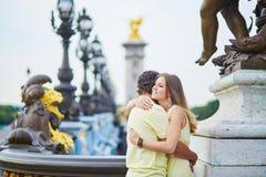 Beautiful young dating couple in Paris Stock Photos