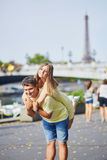 Beautiful young dating couple in Paris Royalty Free Stock Image