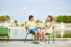 Beautiful young dating couple in Paris Royalty Free Stock Photography