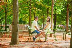 Beautiful young dating couple in Paris Royalty Free Stock Photo