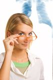 Beautiful young doctor. In a laboratory Stock Photos