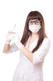 Beautiful young doctor in medical robe holding Royalty Free Stock Photo