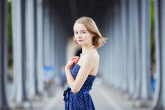 Young woman in Paris outdoors Royalty Free Stock Image