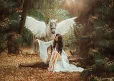 Beautiful, young elf, walking with a unicorn. She is wearing an incredible light, white dress. Art hotography. Beautiful, young elf, walking with a unicorn. She Royalty Free Stock Images