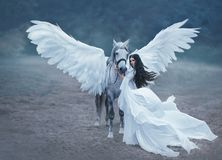 Beautiful, young elf, walking with a unicorn. She is wearing an incredible light, white dress. Art hotography. Beautiful, young elf, walking with a unicorn. She stock photos