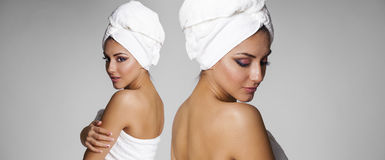 Beautiful young ethnic woman in white towel Royalty Free Stock Image