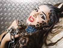 Beautiful young european model in cat make-up and bodyart Royalty Free Stock Photo