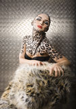 Beautiful young european model in cat make-up and bodyart Royalty Free Stock Photos