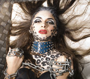 Beautiful young european model in cat make-up and bodyart Stock Images