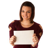 Beautiful young excited successful woman with short brown hair p Royalty Free Stock Image