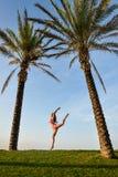 Beautiful young exciting woman in bikini jump Royalty Free Stock Photo