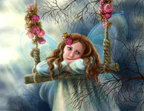 beautiful young fairy  butterfly on  swing. Illustration. Stock Photos