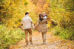 Beautiful young family on a walk in autumn forest. Royalty Free Stock Image