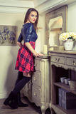 Beautiful young fashion caucasian model posing next to commode. Beautiful young fashion caucasian model in blue and red and scottish cell dress and black shoes stock image