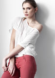 Beautiful young fashion girl model posing Stock Image