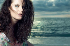 Beautiful young fashion model with long hair. Royalty Free Stock Photography