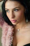 Beautiful young fashion sensual woman closeup portrait Stock Images