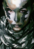 Beautiful young fashion woman with military style clothing and face paint make-up Stock Photos