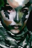 Beautiful young fashion woman with military style Royalty Free Stock Image