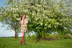 Beautiful young fashion woman posing outdoor Royalty Free Stock Images
