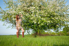Beautiful young fashion woman posing outdoor Royalty Free Stock Photography