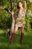 Beautiful young fashion woman posing outdoor Royalty Free Stock Photo