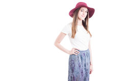 Beautiful young fashionable woman with big hat and stylish cloth Royalty Free Stock Photos