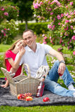 Beautiful young father sitting on a plaid in a green park with her small pretty daughter with a wicker basket for happy picnic Royalty Free Stock Photos