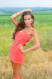 Beautiful young female in coral dress standing in. Picture of beautiful young elegant lady in coral dress standing in summer countryside. Pretty girl looking at royalty free stock photos