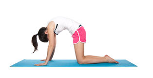 Beautiful young female exercising on a blue matt. Young female doing workout and exercising on a blue matt. Isolated on white stock photo