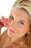 Beautiful young female face with healthy skin Stock Photo
