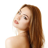 Beautiful young female face with long fair hair Stock Image