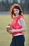 Beautiful young female football player Royalty Free Stock Photography