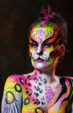 Beautiful young female with full body paint Stock Photos