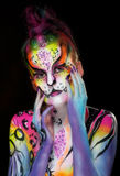 Beautiful young female with full body paint Royalty Free Stock Image