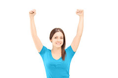 Beautiful young female gesturing happiness Royalty Free Stock Photo