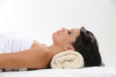 Beautiful young female getting massage Royalty Free Stock Photography
