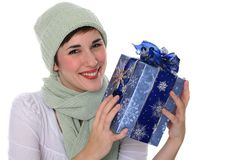 Beautiful Young Female Holding Christmas Gift Box Stock Images