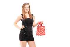 Beautiful young female holding a gift bag Stock Photography