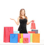 Beautiful young female holding a present and posing with  shoppi Stock Image