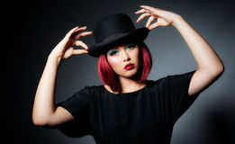 Beautiful Young Female In Bowler Hat Stock Images
