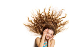 Beautiful young female with long hair Royalty Free Stock Image