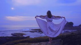 Beautiful young female in a long sexy dress stands on the rocks on the ocean beach on Bali on the sunset with wonderful view. Beautiful slender young female in a stock video