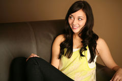Beautiful young female model smiling Stock Photos