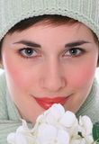 Beautiful Young Female Model  with White Flowers Stock Photos