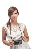 Beautiful young female photographer Royalty Free Stock Image