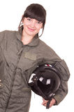 Beautiful young female pilot holding helmet Stock Images